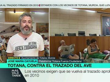 """José María Payuela, sobre el trayecto del AVE a Murcia: """"Nos veremos abocados a ver cómo derrumban nuestras casas"""""""