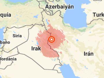 Epicentro del terremoto en Irán