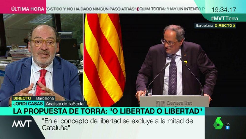 """Jordi Casas, sobre la intervención de Torra: """"Hoy se ha demostrado que hay ciudadanos de primera. El lugar donde debe expresarse es el Parlament"""""""