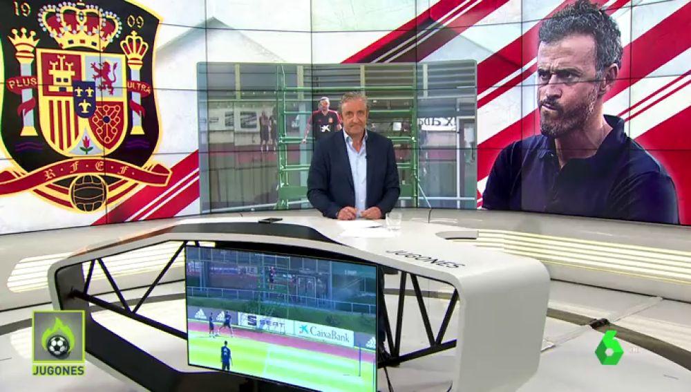 Luis Enrique ha dirigido el entrenamiento de la Selección Española desde un andamio