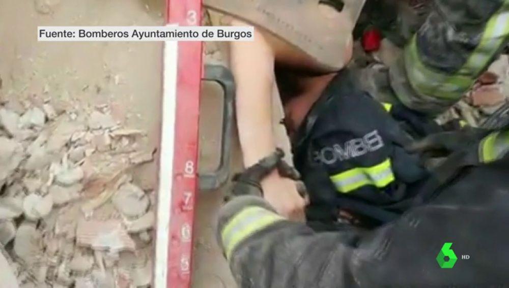 Rescate de una joven tras un derrumbe en Burgos