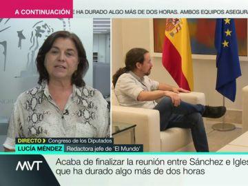 """Lucía Méndez, sobre la reunión entre Sánchez e Iglesias: """"Podemos necesita presentarse como socio preferente del PSOE"""