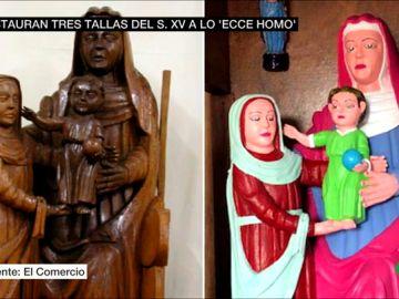 La estanquera del pueblo asturiano de Rañadoiro 'restauró' las tallas del siglo XV en sus ratos libres con permiso del párroco