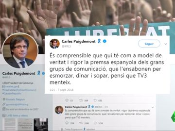 """Puigdemont acusa a Rivera de tener como referente a la """"aduladora"""" prensa española y el líder de Cs le pide que """"se presente en los juzgados"""""""