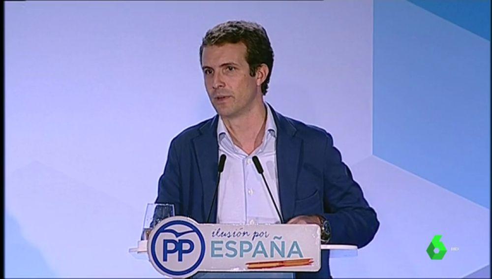 Pablo Casado en un acto del PP en Cataluña