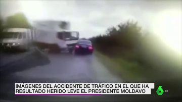 Impactantes imágenes del accidente de tráfico en el que ha resultado herido el presidente de Moldavia