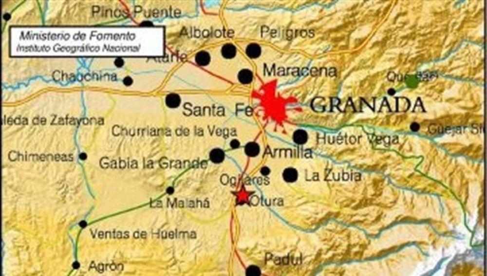Localización del un terremoto registrado en Granada