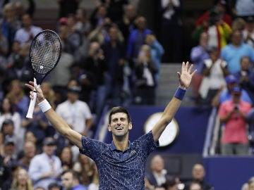 Djokovic celebra su victoria en el US Open