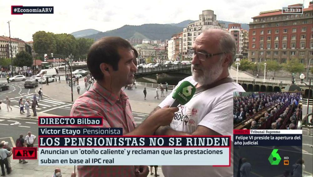 """Habla uno de los pensionistas que se manifiestan en Bilbao: """"No llegamos nunca a final de mes, eso es sobrevivir"""""""