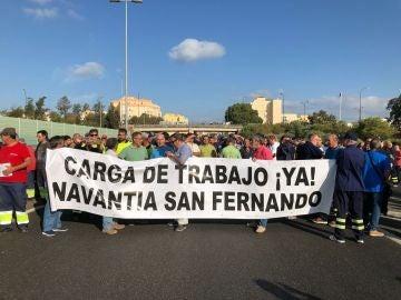Los trabajadores del astillero de Navantia de San Fernando