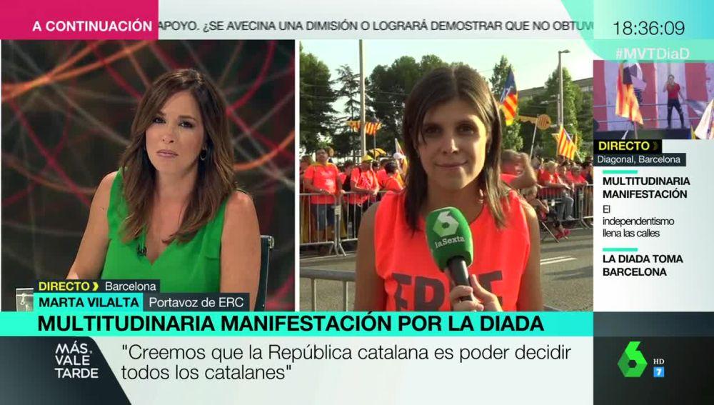 """Marta Vilalta, en la celebración de la Diada: """"Hay presos políticos, gente exiliada y represaliados. La justicia no está siendo justa"""""""