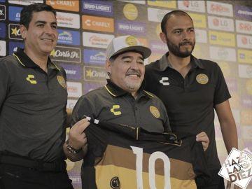 Maradona, en su presentación con el Dorados
