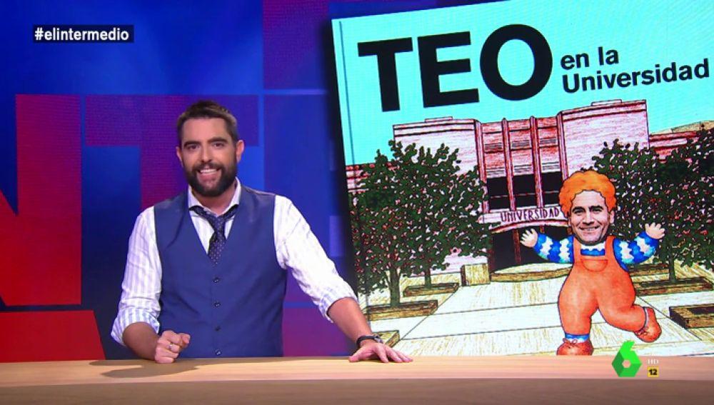 """Dani Mateo presenta la sección de 'Las Aventuras de Teo': """"Desarrolló un casco que, supongo, sirve para lanzar huesos de aceituna más lejos"""""""