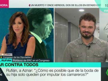 """Gabriel Rufián: """"La boda de la hija de Aznar me la trae al pairo, pero le tengo que preguntar por ella porque sale en muchos autos judiciales"""""""