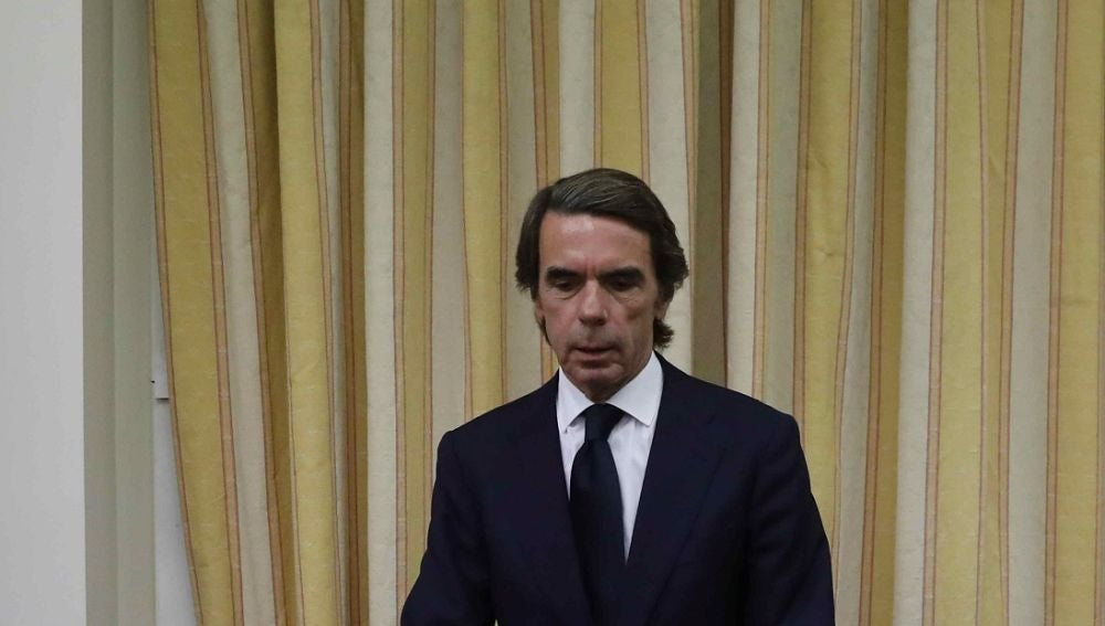 José María Aznar antes de comparecer en el Congreso