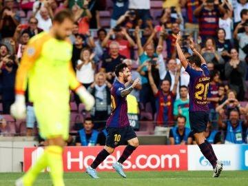 Leo Messi celebra un gol ante el PSV