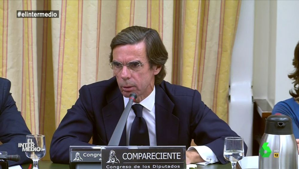 José Maria Aznar en su comparecencia en el Congreso