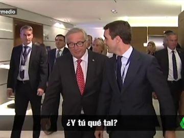 Pablo Casado, pillado hablando de España tras las cámaras con Juncker: ¿Ha traicionado a Mariano Rajoy?