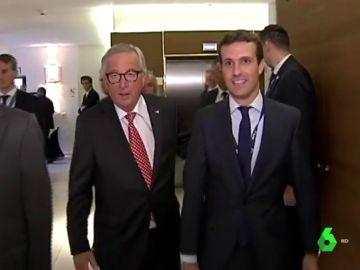 Pablo Casado y Jean Claude Juncker