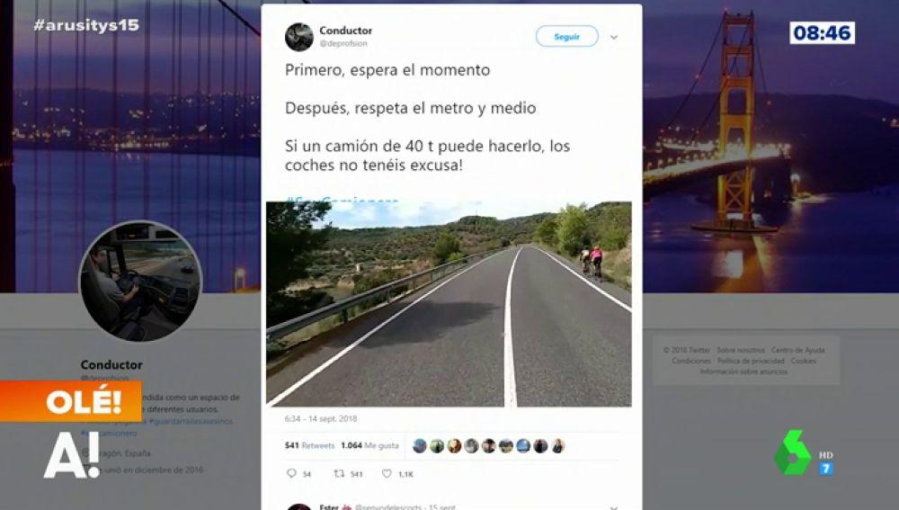 El ejemplar tuit de un camionero que enseña cómo adelantar a un ciclista