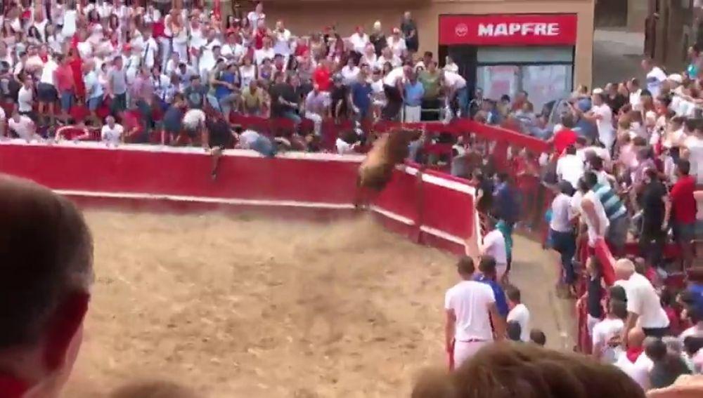 Un toro escapa de la plaza de Villafranca sembrando el pánico durante sus fiestas patronales