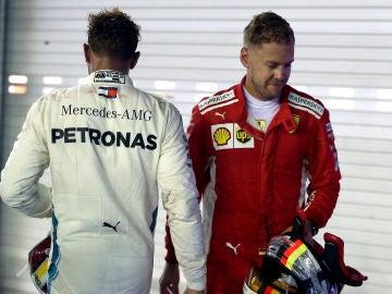 Hamilton y Vettel, en el trazado de Marina Bay