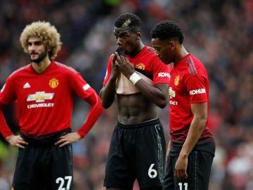 Los jugadores del United, en el partido ante el Wolverhampton