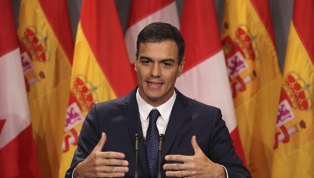 El presidente del Gobierno, Pedro Sánchez, durante su comparecencia en Montreal