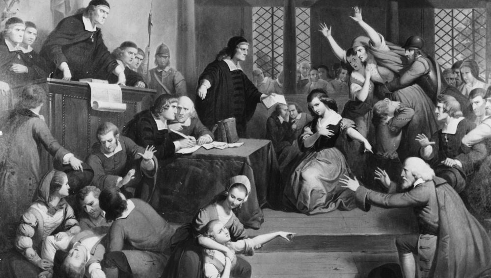 La gente se desmaya en el juicio contra George Jacobs (1692).