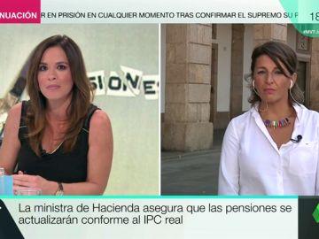 """Yolanda Díaz: """"Cinco millones de pensiones rondan los 600 euros. Si no suben con el IPC, será decir que vamos a tener pensiones de miseria"""""""