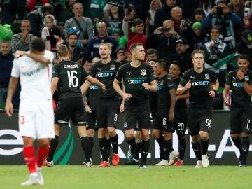 El Krasnodar celebra la victoria ante el Sevilla
