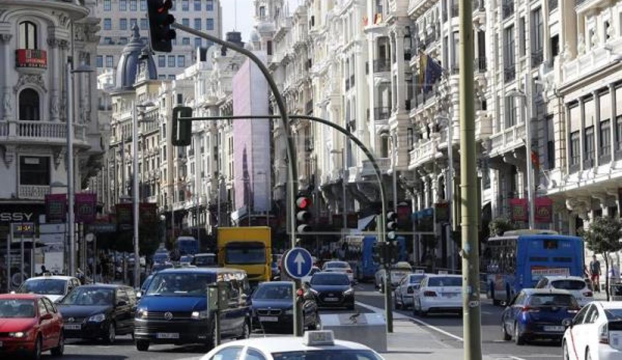 Atasco en Gran Vía (Madrid)