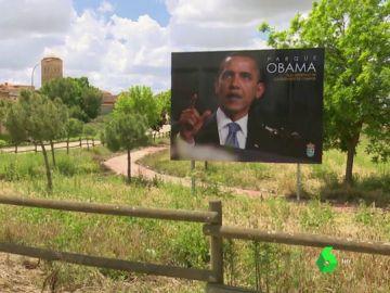 Cartel de Obama en Castroverde de Campos