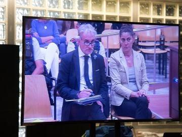 Vista de un monitor de la sala de prensa de la Audiencia de Lleida