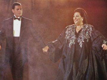 Montserrat Caballé con Freddy Mercury en Barcelona 92'