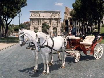 Un carruaje de caballos en Roma