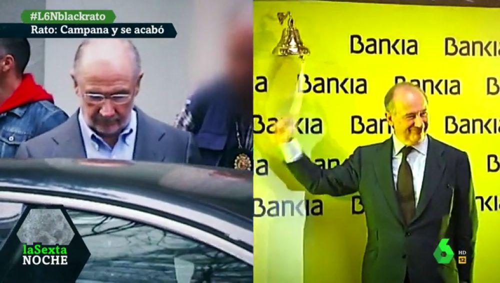 Rato en el momento de su detención y en la salida a bolsa de Bankia