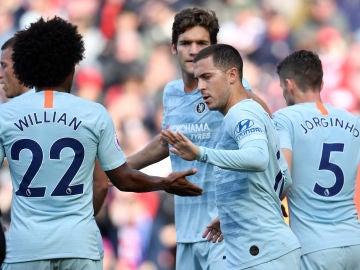 Hazard celebra su gol ante el Southampton