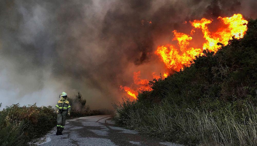 Un incendio forestal está activo en el municipio pontevedrés de Mondariz