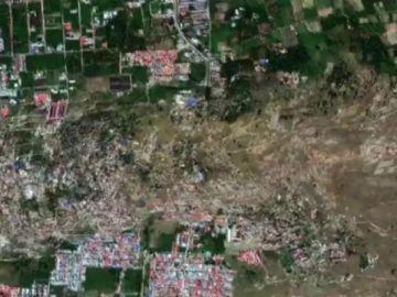 Timelapse del proceso de licuefacción en Indonesia