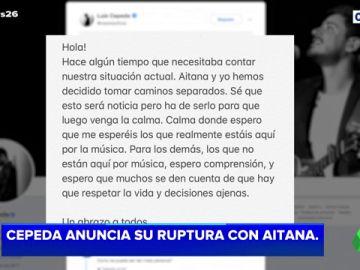 """Cepeda y Aitana anuncia en Twitter que """"toman caminos separados"""""""