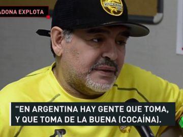 Maradona explota contra sus críticos y les acusa de consumir droga