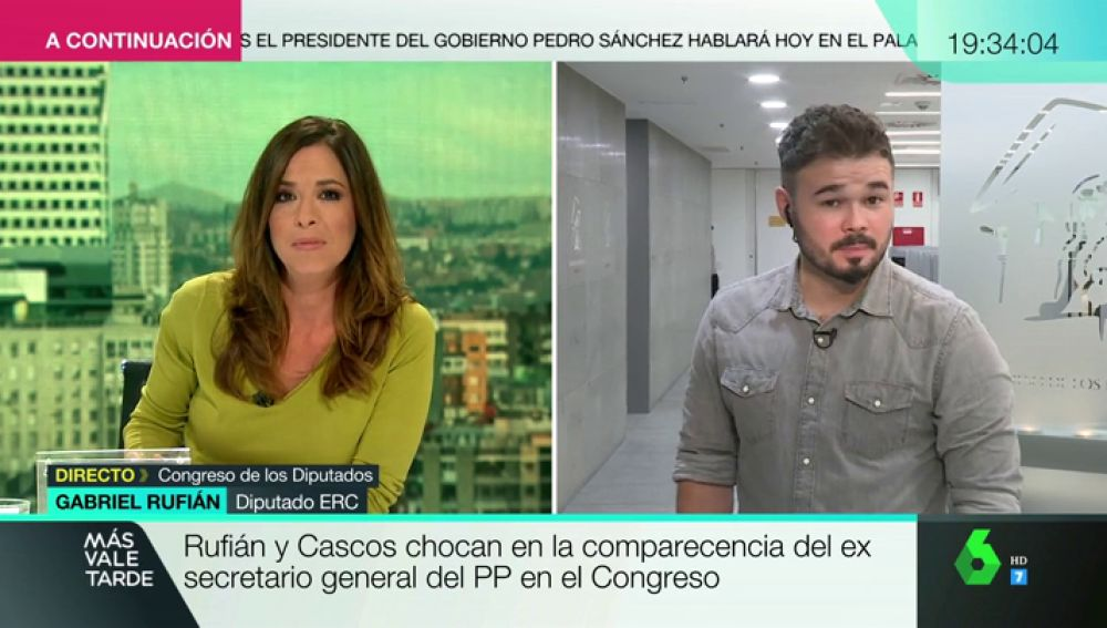 """Gabriel Rufián, sobre el rifirrafe en la comisión: """"En mi vida he hablado con la señora Escudero. No sabía ni como se llamaba"""""""