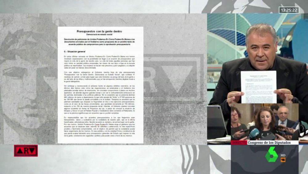 Unidos Podemos contraprograma los PGE: envía a Sánchez un documento en el que critica las medidas y el compromiso del Gobierno