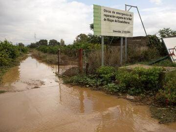 Vista de un campo de cultivo anegado en la barriada Doña Ana de la localidad malagueña de Cártama, tras las lluvias torrenciales