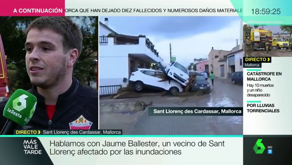 """El testimonio de uno de los afectados por las inundaciones en Mallorca: """"Todos los vecinos nos echamos a la calle para ayudar"""""""