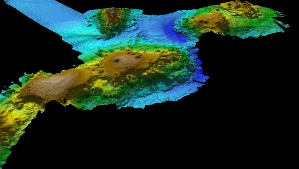 Mapa de la cadena montañosa descubierta en las profundidades
