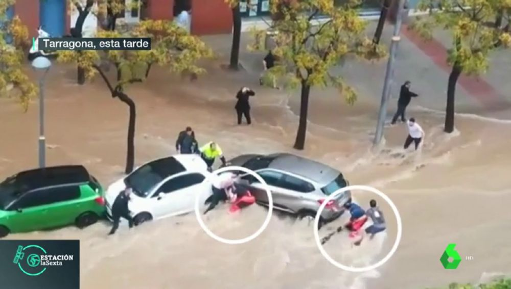 Un angustioso rescate por las tormentas en Tarragona revela que había otra persona ahogándose por la corriente