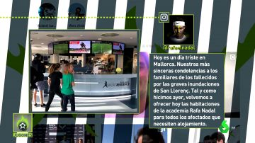 Nadal abrió las puertas de su academia en Mallorca para acoger a los afectados por las inundaciones