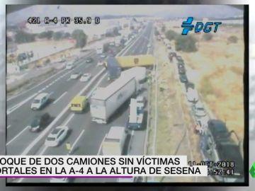 Varios heridos tras el choque de dos camiones en la A-4 a la altura de Seseña